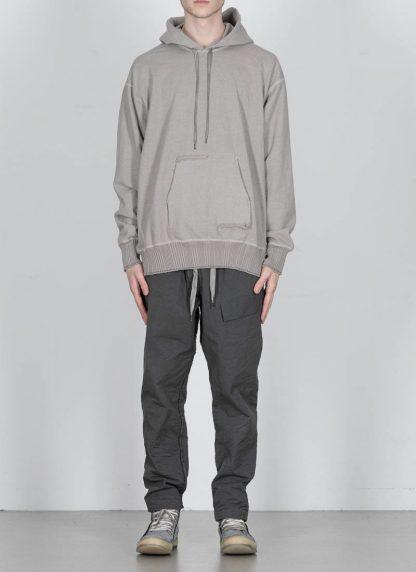 TAICHI MURAKAMI ss20 men Big Sweat Parka Knitted Sweater Herren Pulli unbalanced cotton jersey light grey hide m 3