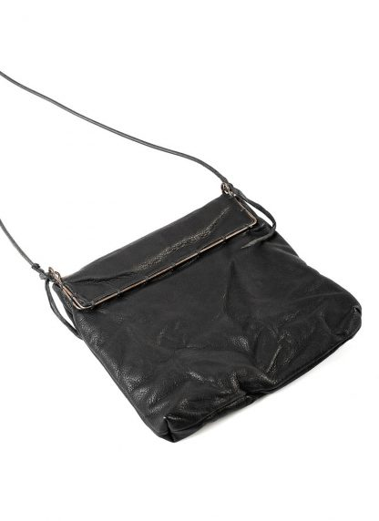 M.A Maurizio Amadei BR123S silver rim small messager bag washed cow leather black hide m 3
