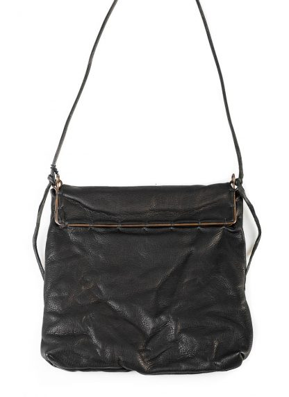 M.A Maurizio Amadei BR123S silver rim small messager bag washed cow leather black hide m 4