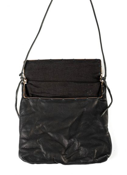 M.A Maurizio Amadei BR123S silver rim small messager bag washed cow leather black hide m 5