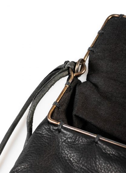 M.A Maurizio Amadei BR123S silver rim small messager bag washed cow leather black hide m 6