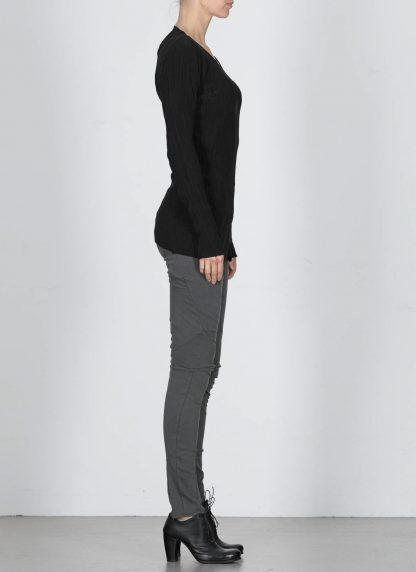 LEON EMANUEL BLANCK DIS W VLT 01 Women Distortion V Long Sleeve Tee Damen Frauen Sweater cotton silk black hide m 4