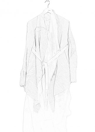 LEON EMANUEL BLANCK Women Distortion Belted Curved Cardigan Damen Jacke Mantel DIS W BCDG 01 OEL linen cotton pearl white hide m 1