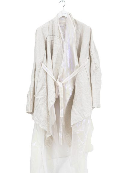 LEON EMANUEL BLANCK Women Distortion Belted Curved Cardigan Damen Jacke Mantel DIS W BCDG 01 OEL linen cotton pearl white hide m 2