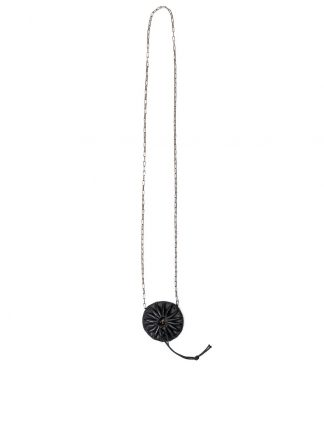 M.A macross Maurizio Amadei Round Pleated Necklace Halskette kette A B740 CU silver chain horse leather black hide m 22