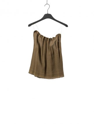 MA Macross Maurizio Amadei women TW137S VSTR silver shoulder lace pleated top viscose gold brown hide m 2