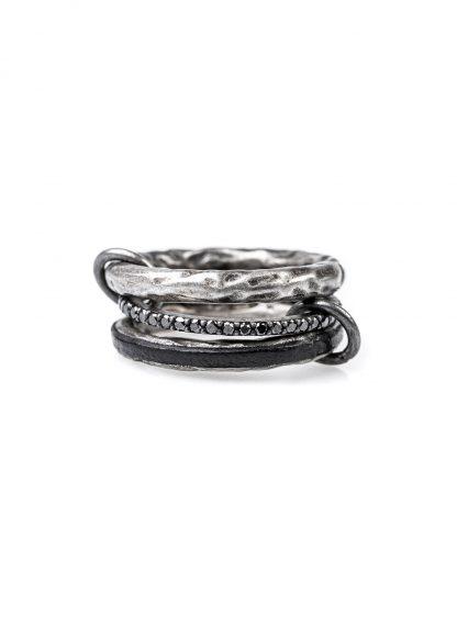 GUIDI women G AN10DN 3 Ring Set black diamonds black leather 925 sterling silver hide m 1
