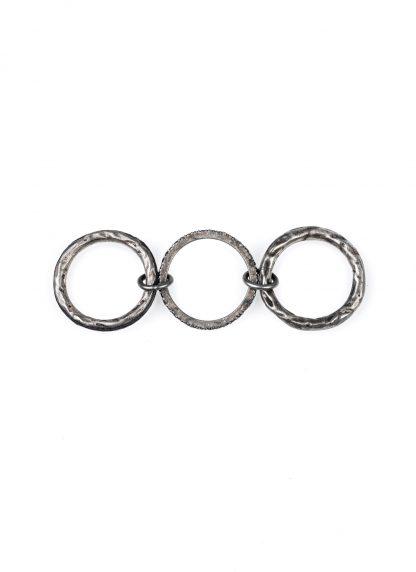 GUIDI women G AN10DN 3 Ring Set black diamonds black leather 925 sterling silver hide m 2