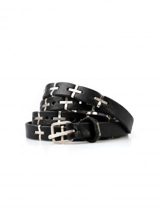 M.A MAURIZIO AMADEI men women cross studded q buckle skinny belt damen herren guertel EQ2A GR 3.0 cow leather 925 sterling silver black hide m 2