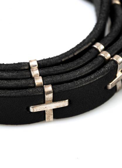 M.A MAURIZIO AMADEI men women cross studded q buckle skinny belt damen herren guertel EQ2A GR 3.0 cow leather 925 sterling silver black hide m 4