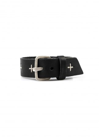 M.A macross Maurizio Amadei A F3E1 small silver cross wristband bracelet cow leather black hide m 2