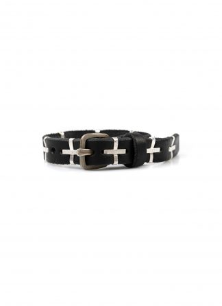 M.A macross Maurizio Amadei A F4B1 big silver cross skinny Wristband bracelet cow leather black hide m 2
