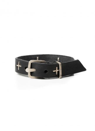 MA Macross Maurizio Amadei A F2B1 GR3.0 Small Silver Cross Skinny Wristband Bracelet Armband cow leather black hide m 2