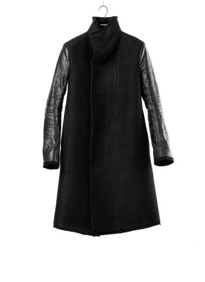 BORIS BIDJAN SABERI BBS men COAT MID herren mantel FFB10001 FMM20024 wool linen horse leather black hide m 2