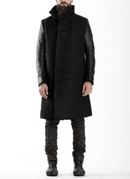 BORIS BIDJAN SABERI BBS men COAT MID herren mantel FFB10001 FMM20024 wool linen horse leather black hide m 3