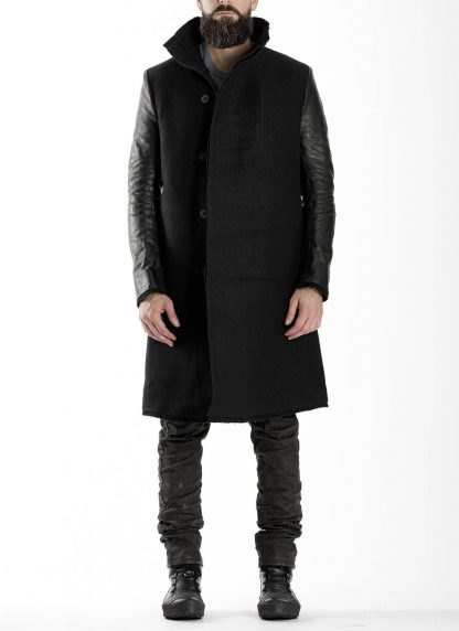 BORIS BIDJAN SABERI BBS men COAT MID herren mantel FFB10001 FMM20024 wool linen horse leather black hide m 4