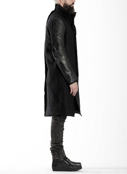 BORIS BIDJAN SABERI BBS men COAT MID herren mantel FFB10001 FMM20024 wool linen horse leather black hide m 5