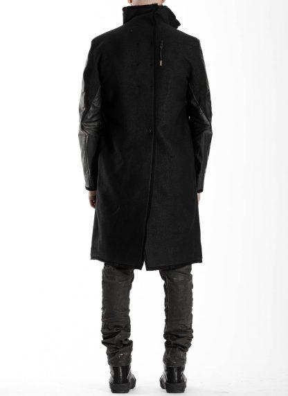 BORIS BIDJAN SABERI BBS men COAT MID herren mantel FFB10001 FMM20024 wool linen horse leather black hide m 6