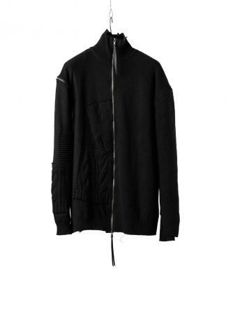 DUELLUM DUE 20AW 010 KNT men zip sweater knit herren pullover wool cotton cashmere black hide m 2