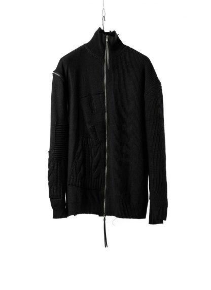 DUELLUM DUE 20AW 010 KNT men zip sweater knit herren pullover wool cotton cashmere black hide m 2