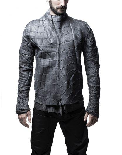 LEON EMANUEL BLANCK men distortion aviator jacket DIS M AJ 01 herren jacke wild alligator dark grey hide m 3