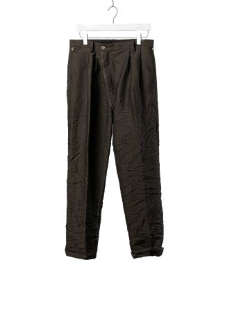 TAICHI MURAKAMI Men L p Straight Pants trousers herren hose wool printed paper olive black hide m 2
