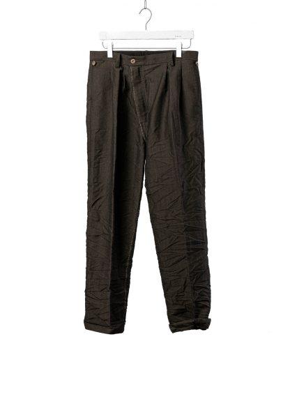 TAICHI MURAKAMI Men L p Straight Pants trousers herren hose wool printed paper olive black hide m 2