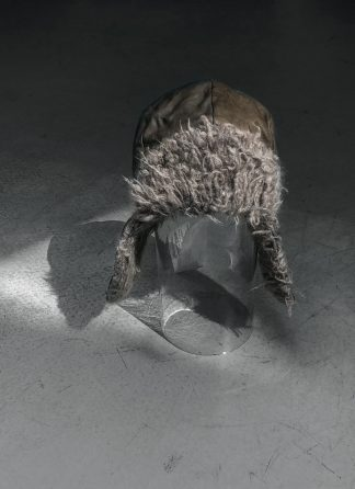 TAICHI MURAKAMI pilot cap muetze horse kangaroo leather grey black cashmere hide m 1