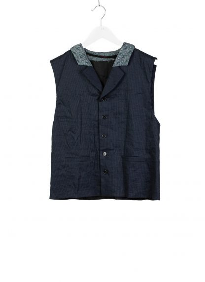 m.a cross maurizio amadei men classic buttoned vest L100K LCES herren weste linen cotton elastan black dark blue hide m 2