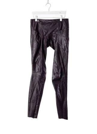 Leon Emanuel Blanck LEB women distortion fitted pants damen hose stretch leather deep purple hide m 2