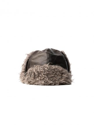 TAICHI MURAKAMI pilot cap chapka muetze horse leather dark grey brown cashmere hide m 2