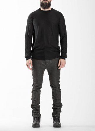 BORIS BIDJAN SABERI BBS Men KN LS3 FCG30001 Round Neck Sweater Herren Pullover Pulli cashmere black hide m 3