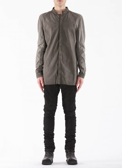 BORIS BIDJAN SABERI BBS Men Button Down Shirt SHIRT1 F1505F Resin Dyed Herren Hemd cotton faded dark grey hide m 3