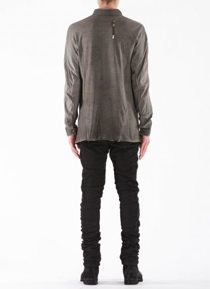 BORIS BIDJAN SABERI BBS Men Button Down Shirt SHIRT1 F1505F Resin Dyed Herren Hemd cotton faded dark grey hide m 5