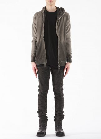 BORIS BIDJAN SABERI BBS Men Zip Hoody Jacket ZIPPER2 F0503M Resin Dyed Herren Jacke Strickjacke cotton faded dark grey hide m 3