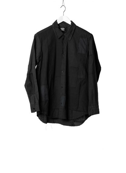 PROPOSITION CLOTHING Men Button Down Shirt Herren Hemd rare antique fabric patched hand stitched overdyed cotton black hide m 2
